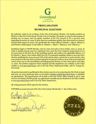 Novembe 3, 2020 COG Proclamation Municipal Election posted 5-01-2020