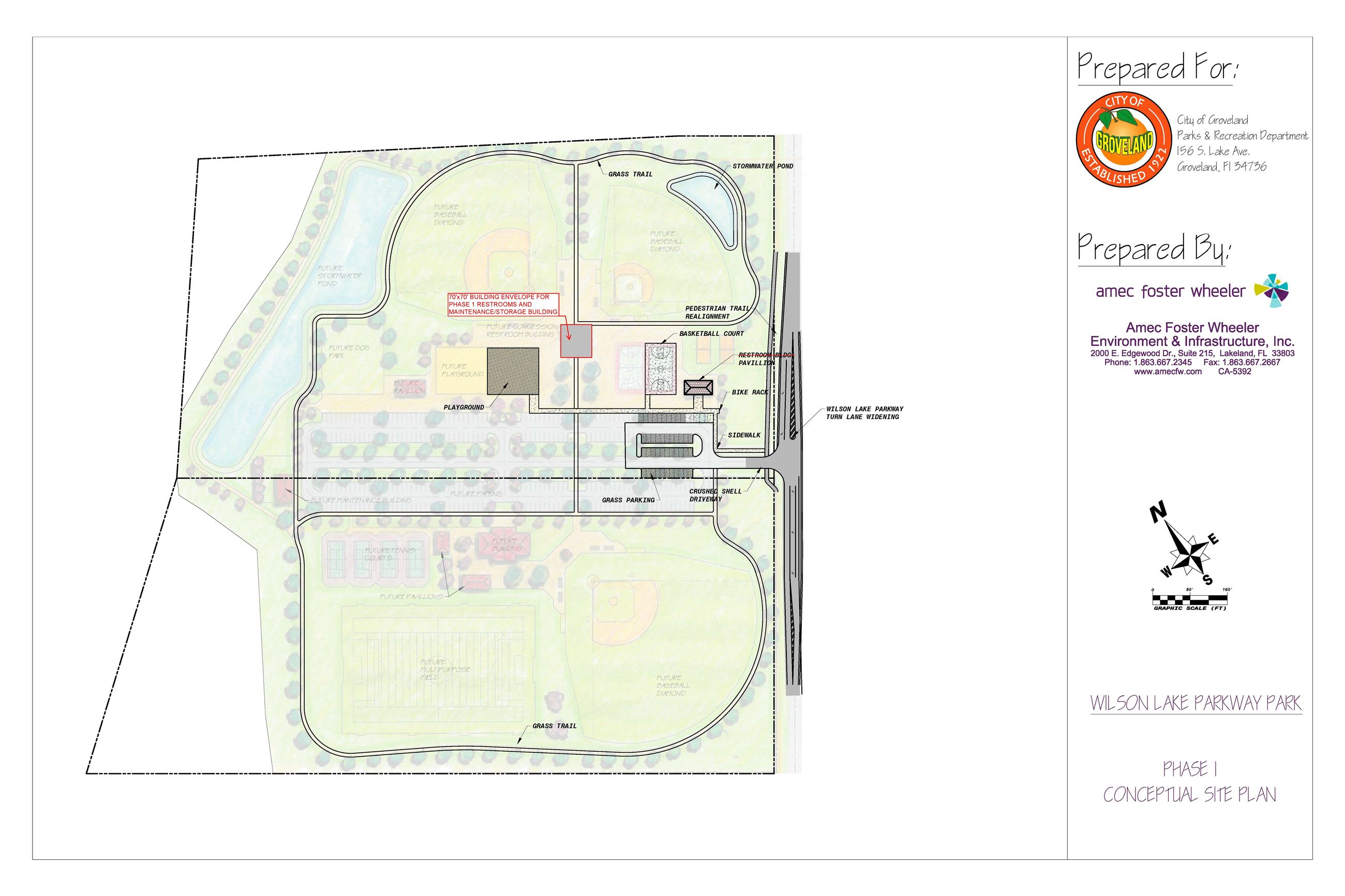 Wilson Lake Parkway Park - Phase I - Conceptual Site Plan - Restroom Revision