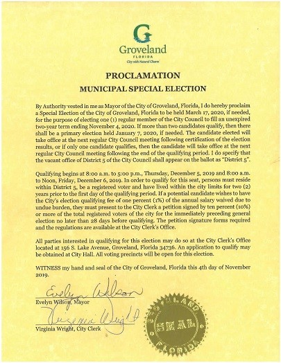 Proclamation Special Election - District Seat 5