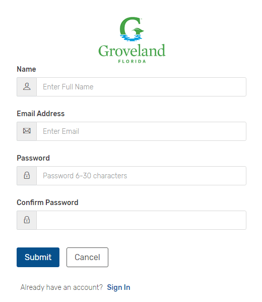 utility bill create account screen