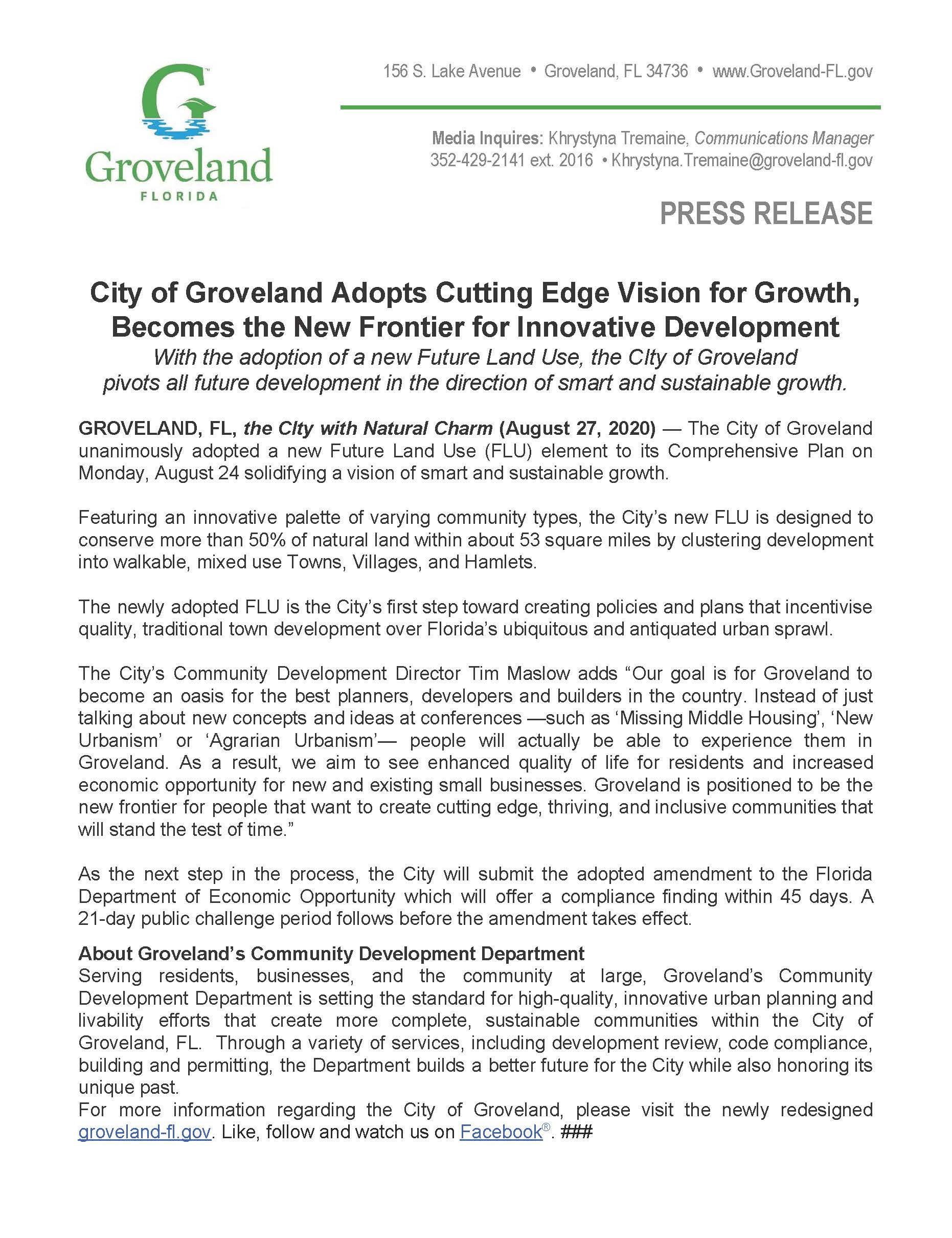 Press Release_ Future Land Use